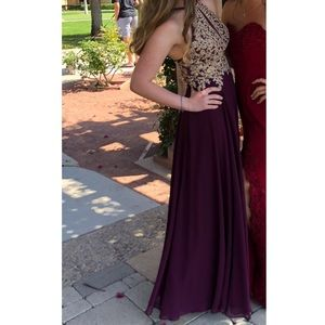 Dresses & Skirts - Reddish/purple halter dress with gold detailing